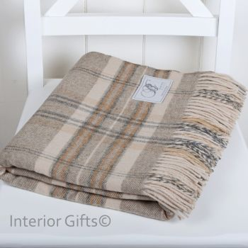 BRONTE by Moon Country Check Natural Beige Throw in supersoft Merino Lambswool