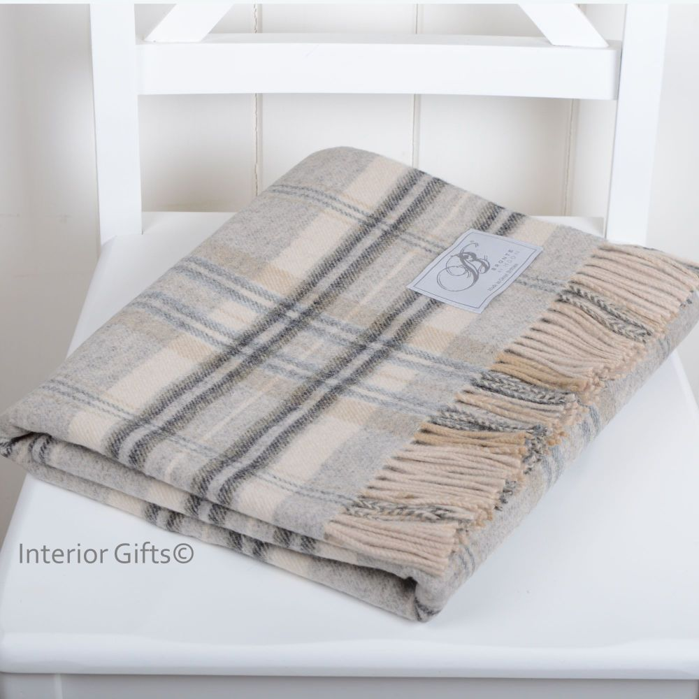 BRONTE by Moon Country Check Grey & Cream Throw in Supersoft Merino Lambswo