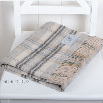 BRONTE by Moon Country Check Grey & Cream Throw in Supersoft Merino Lambswool