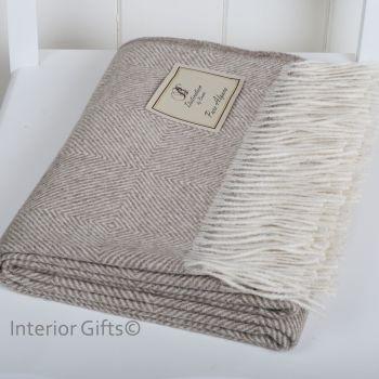 BRONTE by Moon Beige Luxury Silky Alpaca Herringbone Throw - Connoisseurs Choice