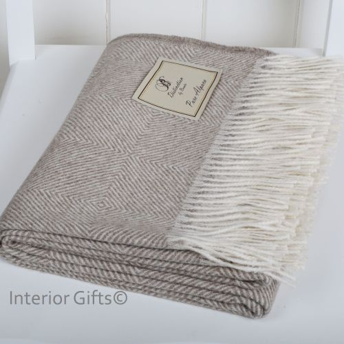 BRONTE by Moon Beige Luxury Alpaca Herringbone Throw - Connoisseurs Choice