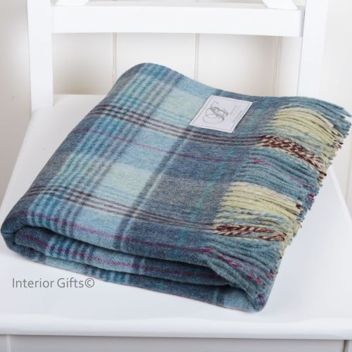 BRONTE by Moon Huntingtower Blue Check Throw in supersoft Merino Lambswool