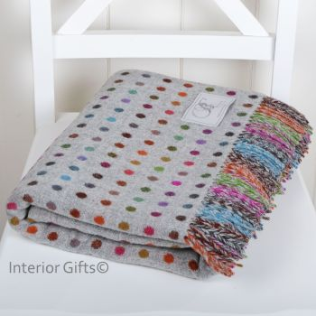 BRONTE by Moon Grey Colour Spot Throw in supersoft Merino Lambswool