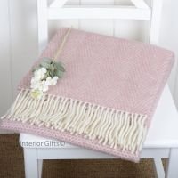 Tweedmill Dusky Pink & Cream Honeycomb Knee Rug or Small Blanket Pure New Wool