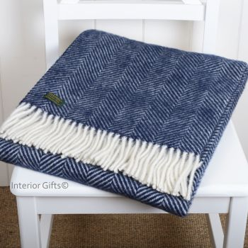 Tweedmill Navy Blue Herringbone Knee Rug or Small Blanket Throw Pure New Wool