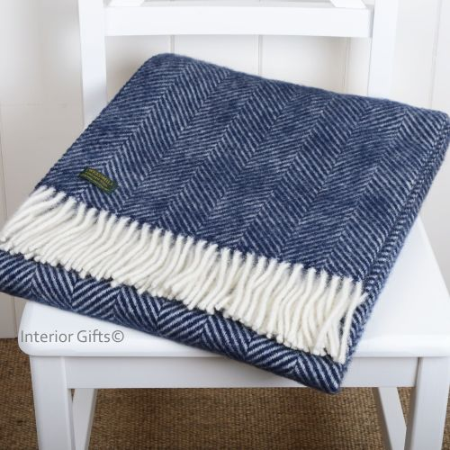 Tweedmill Knee Rug, Small Blanket or Throw in Navy Blue Herringbone Pure Ne