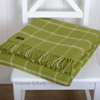 Tweedmill Avocado Green Classic Check Windowpane Pure New Wool Throw Blanket