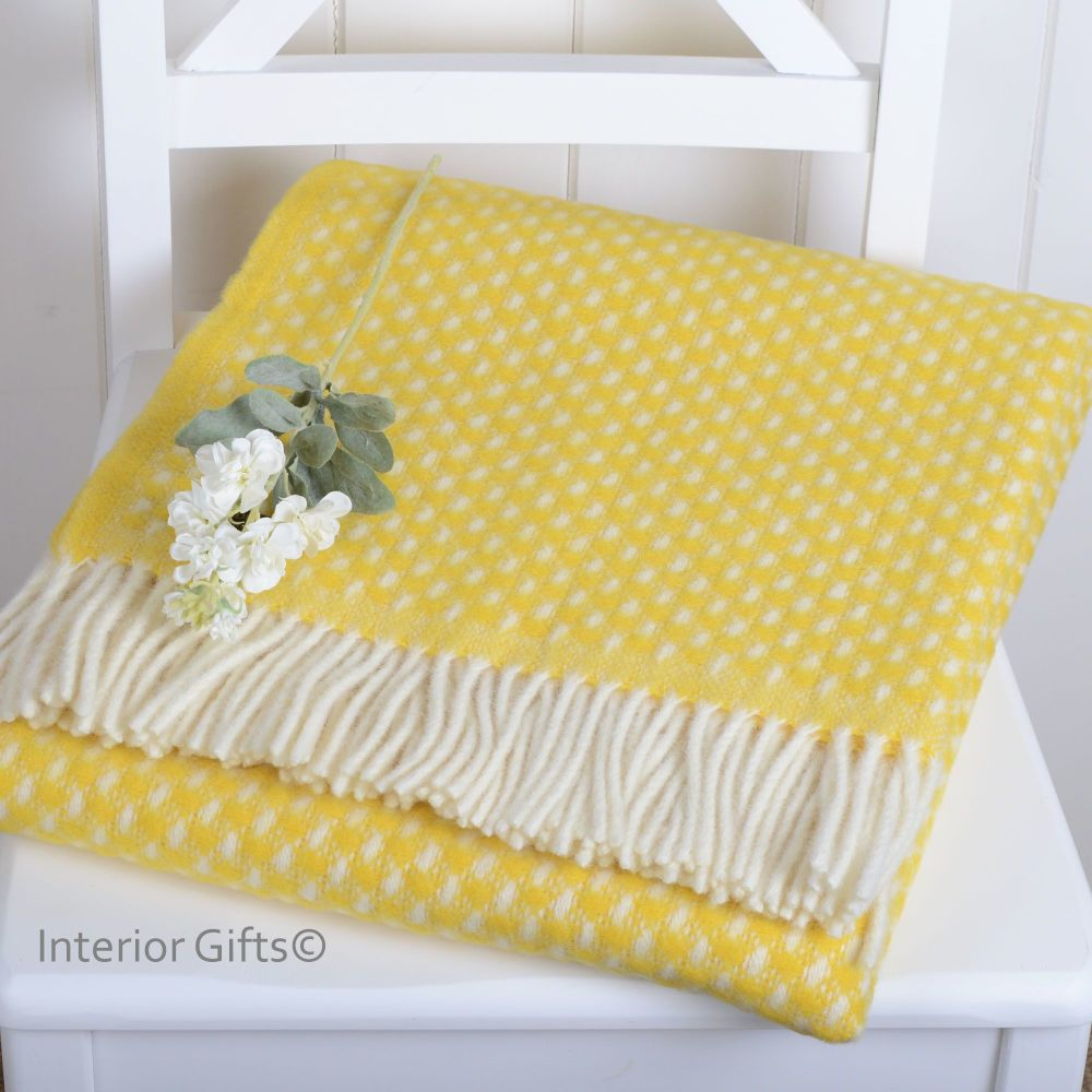 Tweedmill Lemon Yellow & Cream Basketweave Throw in Pure New Wool