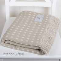 BRONTE by Moon Beige & Cream Classic Spot Throw in Supersoft Merino Lambswool