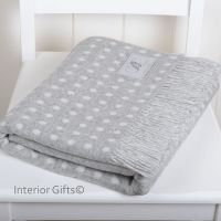 BRONTE by Moon Silver Grey & Cream Classic Spot Throw in Supersoft Merino Lambswool