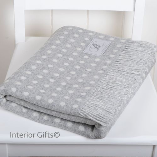 BRONTE by Moon Grey & Cream Classic Spot Throw in Supersoft Merino Lambswoo