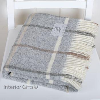 BRONTE by Moon Grey Windowpane Throw in 100% Shetland Pure New Wool