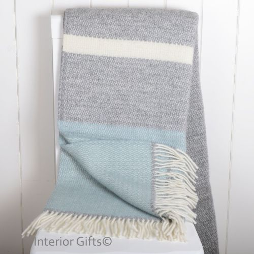 Tweedmill Duck Egg Blue & Grey Colour Band Pure New Wool Throw