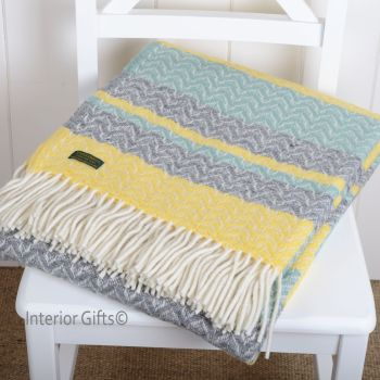 Tweedmill Aqua Green & Lemon Yellow Cadence Pure New Wool Throw Blanket