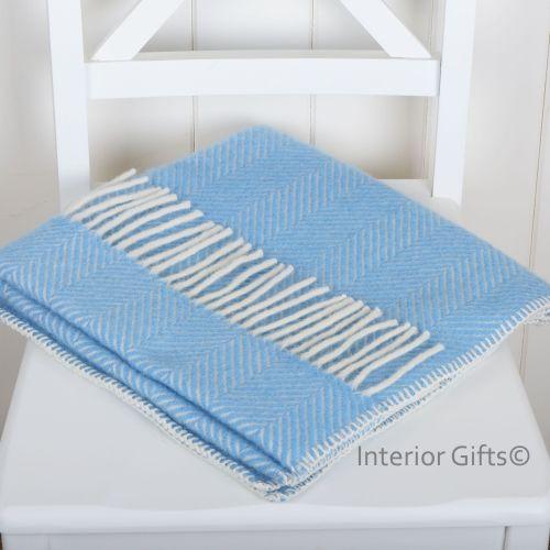 Baby Pram Blanket - Light Blue Pure New Wool