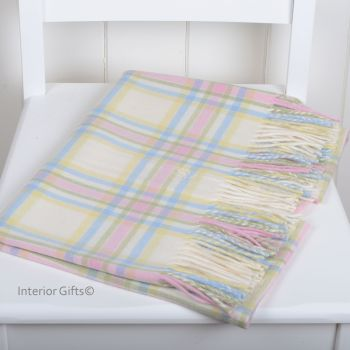 BRONTE BABY Menzies Pastel Check Cot Blanket in supersoft Merino Lambswool