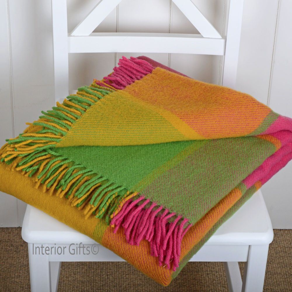 Tweedmill Multi Check Tropical Pure New Wool Throw Blanket