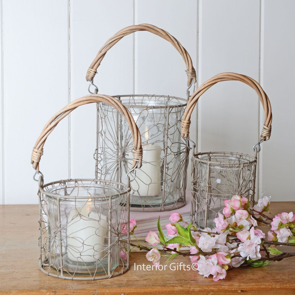 Set of Three Rustic Glass & Wire Decorative Lanterns with Natural Handle