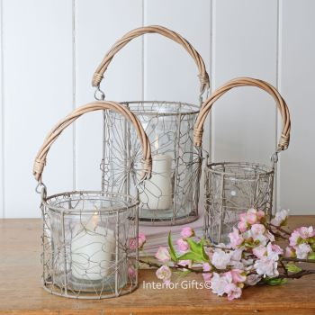 Set of Three Rustic Glass & Wire Decorative Lanterns with Natural Woven Handle