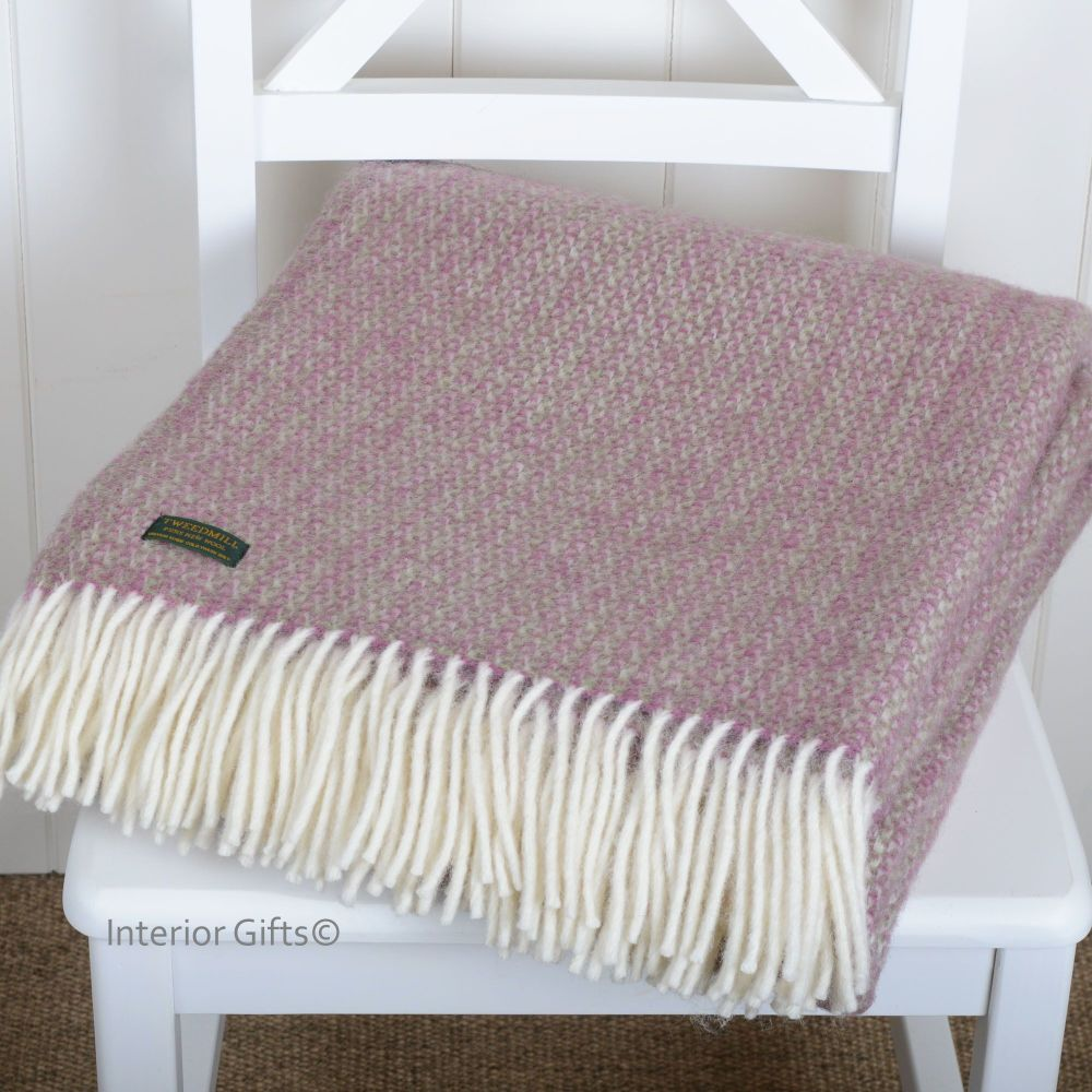 Tweedmill Rose Pink with hint of Green Ascot Pure New Wool Throw Blanket