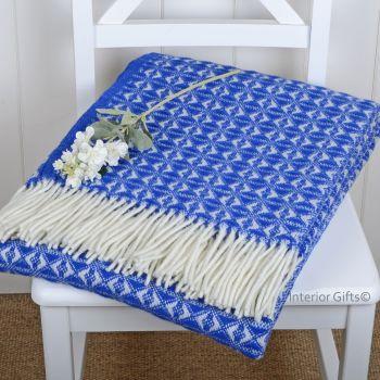 Tweedmill Windsor Blue & Cream Throw Blanket Pure New Wool