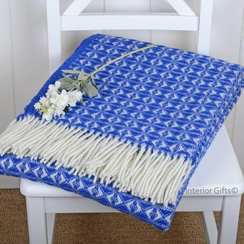 Tweedmill Royal Blue & Cream Throw Blanket Pure New Wool