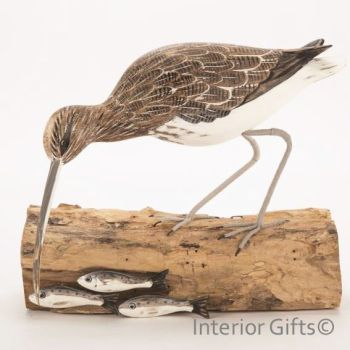Archipelago Curlew Fishing Bird Wood Carving