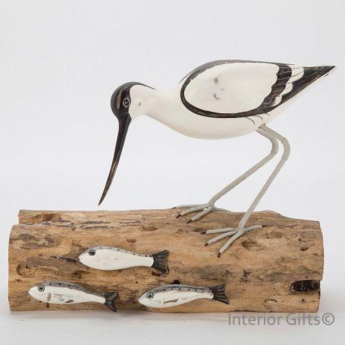 Archipelago Avocet Fishing Bird Wood Carving
