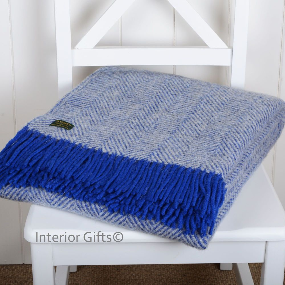 Tweedmill Royal Blue & Silver Herringbone Pure New Wool Throw Blanket