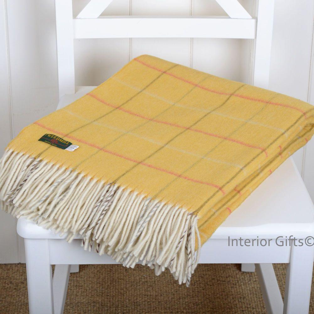 Tweedmill Merino Lambswool Soft Yellow Gold Check Throw