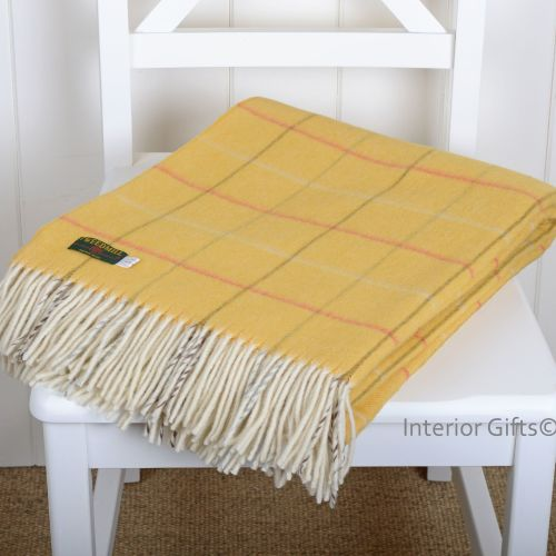 Tweedmill Merino Lambswool Soft Yellow Gold Check Throw