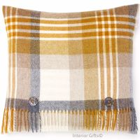 BRONTE by Moon Cushion - Gold Melbourne Check Merino Lambswool