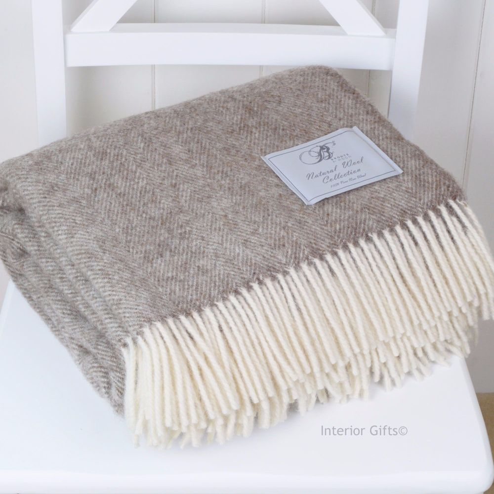 BRONTE by Moon Natural Collection Beige Herringbone Throw in 100% Pure New