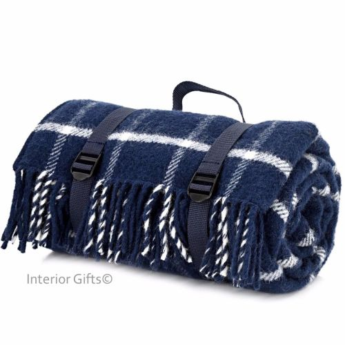 Waterproof Backed Wool Picnic Rug Blanket In Clic Navy Check With Practical Carry Strap