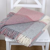 Tweedmill Multi Check Dusky Pink & Silver Grey Knee Rug or Small Blanket Pure New Wool