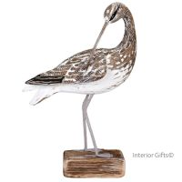 Archipelago Curlew Preening Bird Wood Carving
