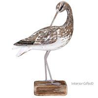 Archipelago Curlew Preening Bird Wood Carving