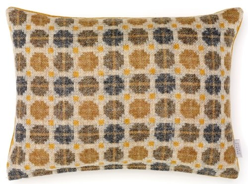 BRONTE by Moon Cushion - Gold Milan Check Rectangle Shetland Wool