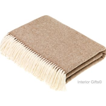 BRONTE by Moon Parquet Camel & Cream Throw in Supersoft Merino Lambswool