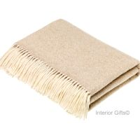 BRONTE by Moon Parquet Beige & Cream Throw in Supersoft Merino Lambswool
