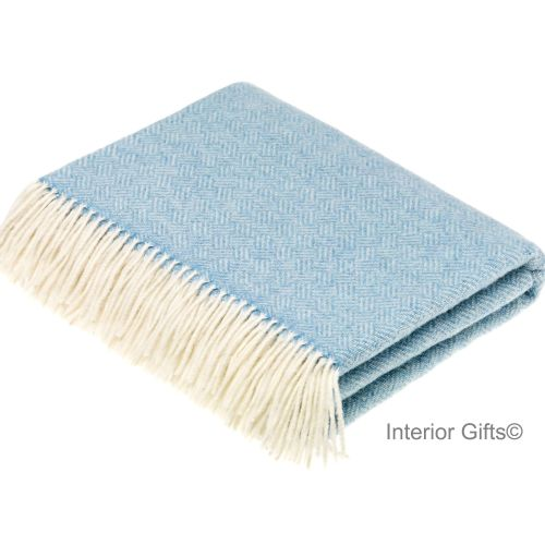 BRONTE by Moon Parquet Aqua Blue & Cream Throw in Supersoft Merino Lambswoo
