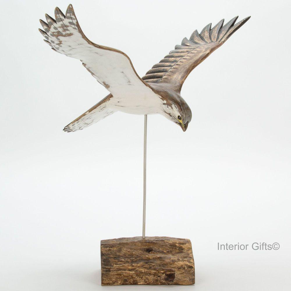 Archipelago Kestrel in Flight Bird Wood Carving