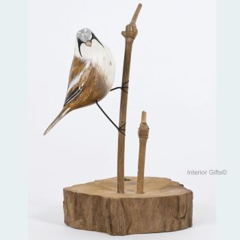 Archipelago Bearded Tit on Aged Natural Wooden Base, Bird Wood Carving