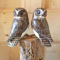 Archipelago Little Owls Two (Double Little Owl Block) Wood Carving