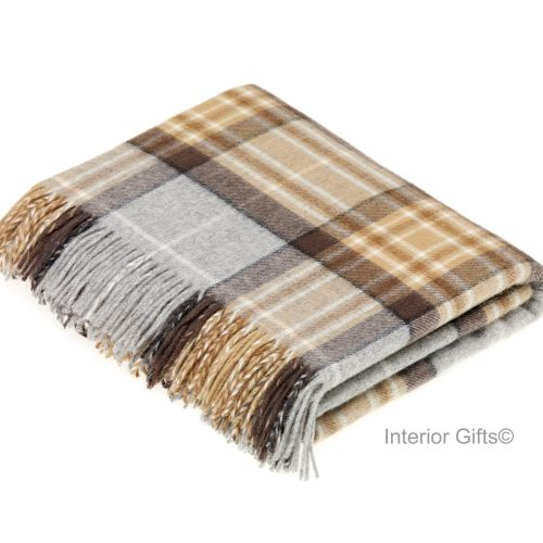 BRONTE by Moon Beige & Grey Check Throw in Supersoft Merino Lambswool