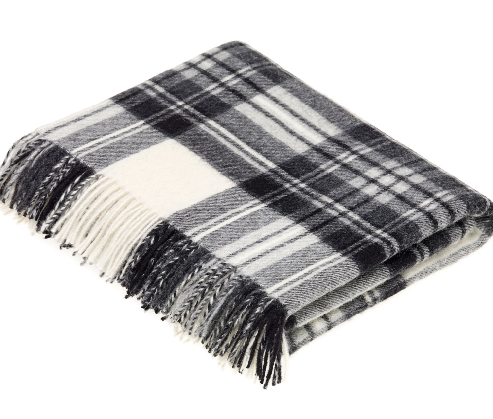 BRONTE by Moon Charcoal Grey & Cream Check Throw in Supersoft Merino Lambsw