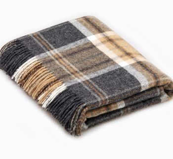 BRONTE by Moon Beige & Charcoal Grey Check Throw in Shetland Wool