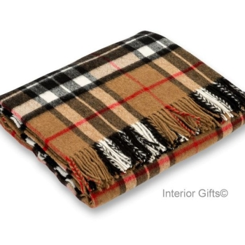 BRONTE by Moon Classic Camel Thompson Tartan Check Throw in Supersoft Merino Lambswool