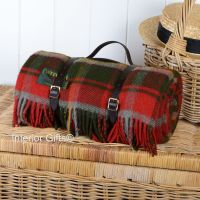 Wool Rolled Picnic Rug / Blanket in Deep Red Country Check with Leather Carry Strap