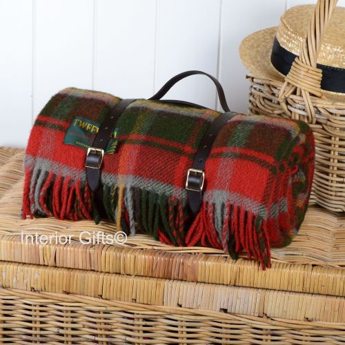 Wool Rolled Picnic Rug / Blanket in Dark Maple with Leather Carry Strap